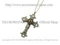 【ネクロマンス NECROMANCE】【限定】 シルバーローズロザリオ義眼ネックレス Silver Rose Rosary Glass Eye Necklace <グリーン/Green/緑>十字架 クロス 目玉