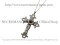 【ネクロマンス NECROMANCE】【限定】 シルバーローズロザリオ義眼ネックレス Silver Rose Rosary Glass Eye Necklace <ヘーゼル/Hazel>十字架 クロス 目玉