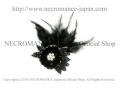 【ネクロマンス NECROMANCE】 ブラックレースフェザーブローチ Black Lace Feather Brooch 喪章 葬儀 羽根