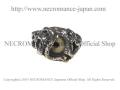 【ネクロマンス NECROMANCE】 シルバーロールドラゴン義眼リング Silver Roll Dragon Glass Eye Ring <グリーン/Green/緑> 龍 目玉