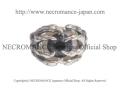 【ネクロマンス NECROMANCE】シルバーボーンハンド義眼リング Silver Bone Hand Glass Eye Ring <ブルーグレー/Blue Gray>目玉 骸骨