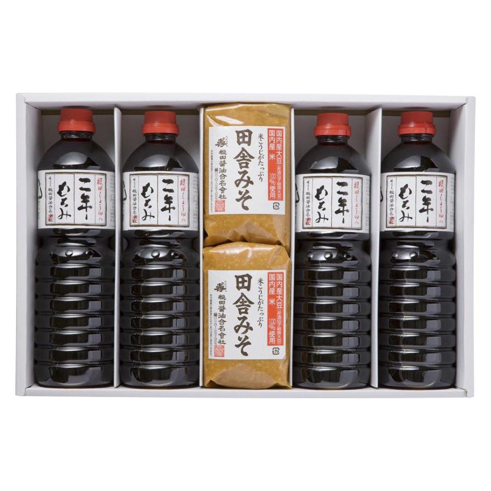 味噌と醤油の詰合せ 田舎みそ1kg×2個、二年もろみ醤油1L×4本(W102)