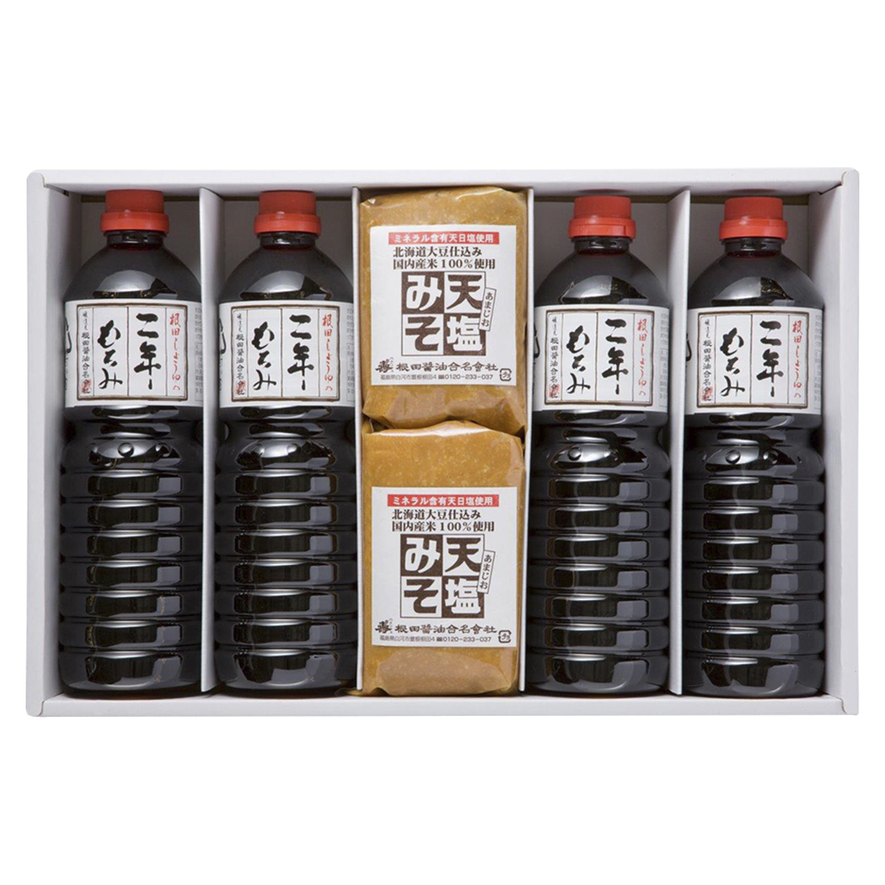 味噌と醤油の詰合せ 天塩みそ1kg×2個、二年もろみ醤油1L×4本(W202)