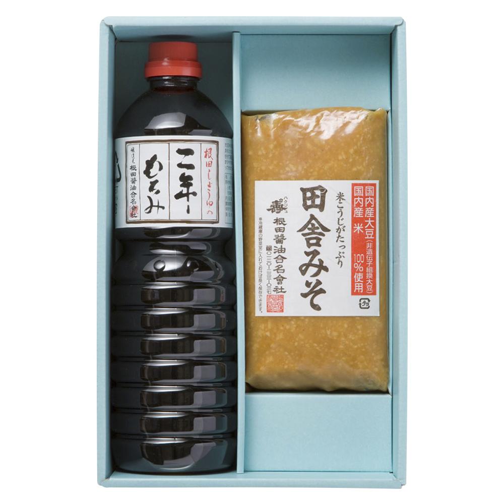 味噌と醤油の詰合せ 田舎みそ1kg×1個、二年もろみ醤油1L×1本(W301)