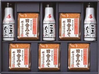 味噌と醤油の詰合せ 田舎みそ500g×5個、二年もろみ醤油鮮度ボトル200ml×3本(ND30)