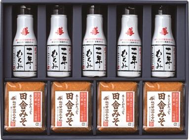 味噌と醤油の詰合せ 田舎みそ500g×4個、二年もろみ醤油鮮度ボトル200ml×5本(ND32)