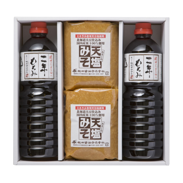 味噌と醤油の詰合せ 天塩みそ1kg×2個、二年もろみ醤油1L×2本(W005)