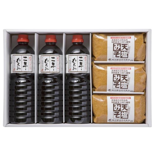 味噌と醤油の詰合せ 天塩みそ1kg×3個、二年もろみ醤油1L×3本(W201)