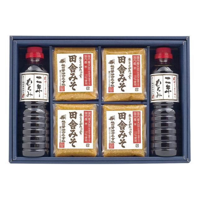 味噌と醤油の詰合せ 田舎みそ500g×2個、二年もろみ醤油500ml×4本(W504)