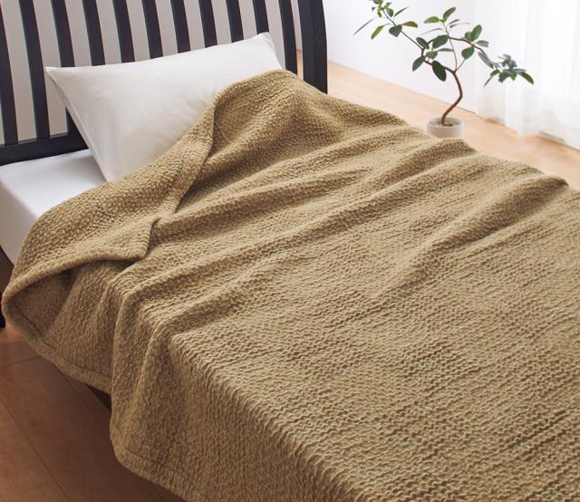 【FIT LABO】キャメル入りストレッチ毛布(毛羽部分) 140×200cm 西川