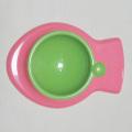 猫用食器ピンクグリーン魚型