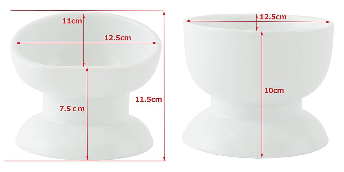 CoCoBowl ココボウル 高さと角度がある陶器の食器  (フードS1点× ウォーター S1点・セット) ワンちゃん、ネコちゃんの為の安全食器
