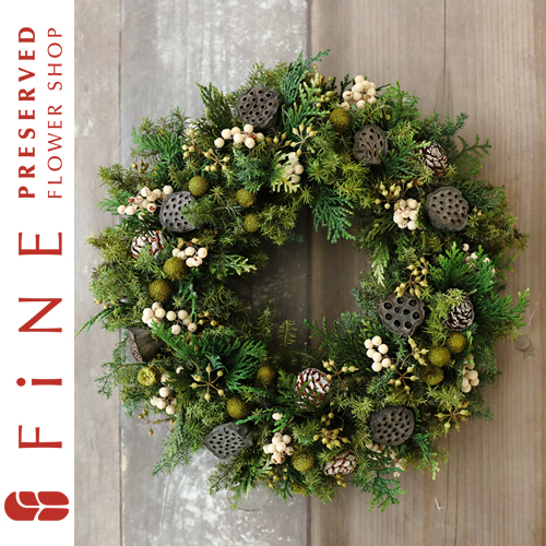 ハスとムイリーコーンのリース/クリスマス/リース/プリザーブドグリーン/ナチュラルリース