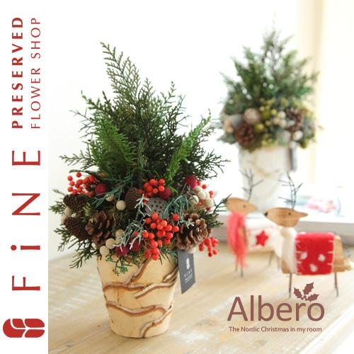 アルベロ(X対象) クリスマス/インテリアグリーン/北欧/ノルディック/クリスマスツリー/プリザーブドフラワー【有料バッグ:L対応】