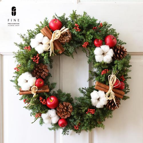 クリスマスリース/クリスマスリース/クリスマスアレンジ/プリザーブドフラワー/ディスプレイ