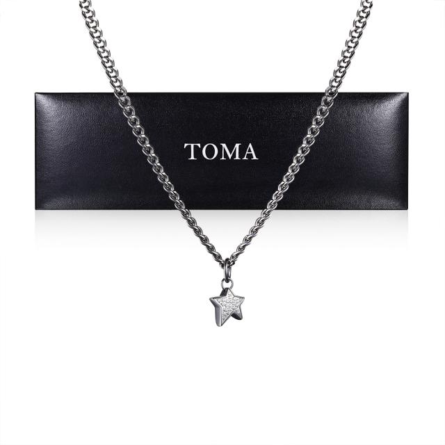 TOMA チタンネックレス 45cm星チャーム【日本全国 送料無料】保証書(ギャランティカード)付き