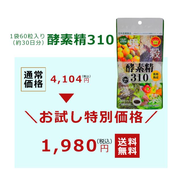 酵素精310(サプリメント) 60粒【お試し価格!日本全国 送料無料】