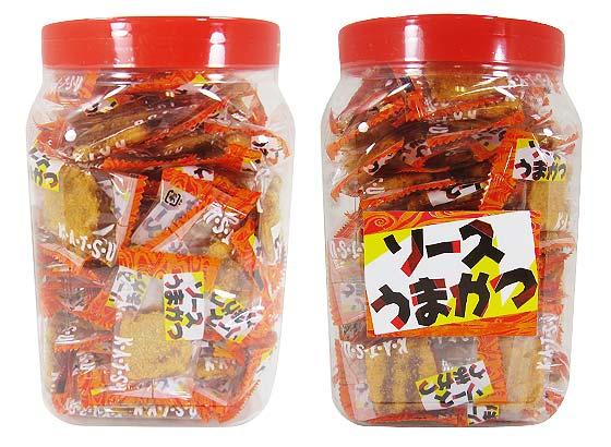 【駄菓子のまとめ買い・おつまみ・イカ系駄菓子】 タクマ食品 ソースうまかつ ポット入(100個入)