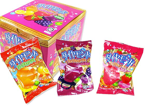 【駄菓子のまとめ買い・飴・チューイングの駄菓子】 やおきん ダイヤモンド リングキャンディー (24個入)
