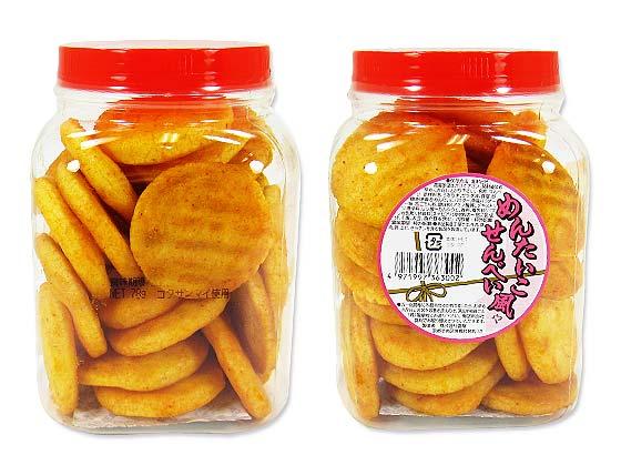 【駄菓子・業務用 ポット入りおかき】 雷屋 めんたいこ風せんべい ポット入78g