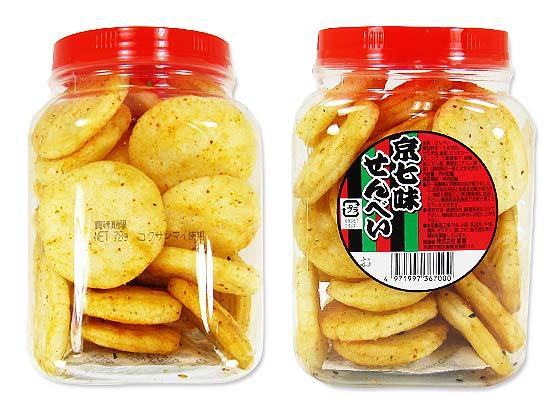 【駄菓子・業務用 ポット入りおかき】 雷屋 京七味せんべい ポット入78g