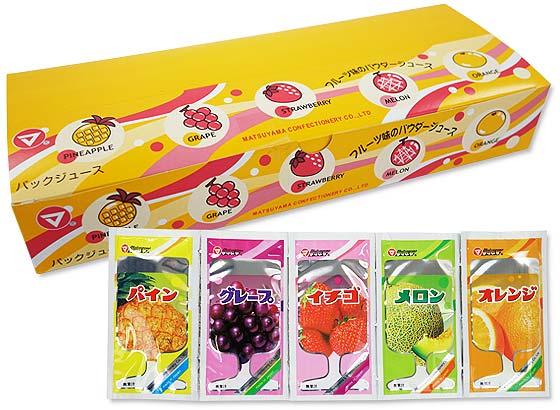 駄菓子のまとめ買い・ドリンク系の駄菓子 松山 NEWパックジュースフルーツ味5種 (50個入)