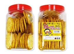 【お菓子のまとめ買い・スナック系の駄菓子】  雷屋 カレーせんべい(60+2入)