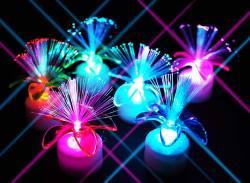 【景品玩具まとめ買い・光るおもちゃのまとめ買い】 光るファイバーフラワースタンド(24個入り)