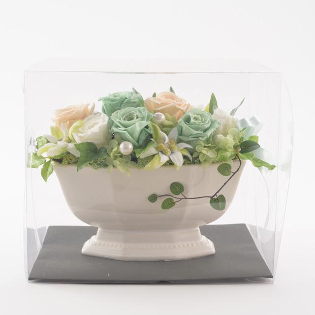 プリザーブドフラワー白陶器5000円A(プリザ)◆