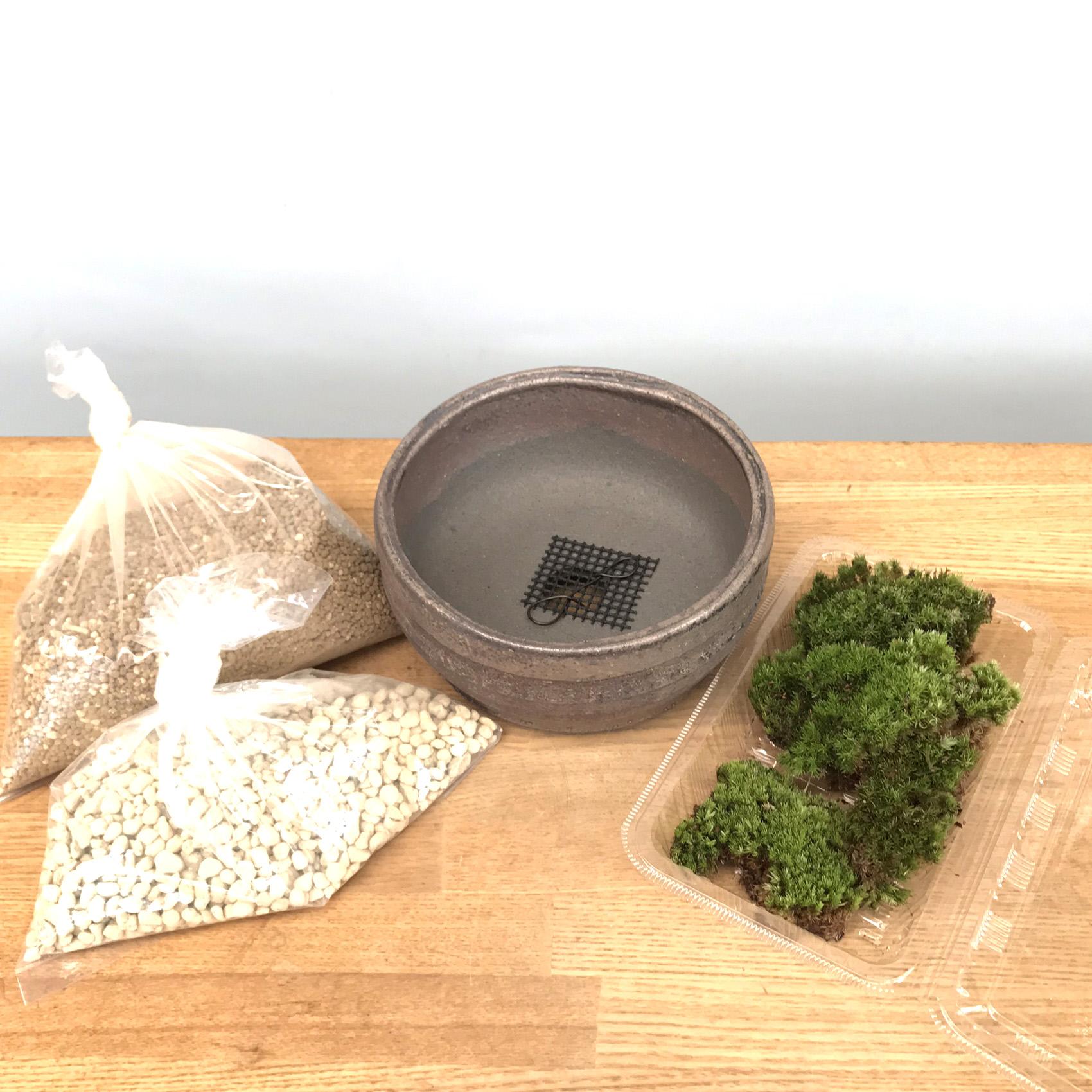 盆栽キット信楽焼灰鉢15