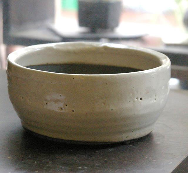 信楽焼鉢白鉢15 201211m