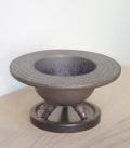 鉢は樹や草花の表情をがらっと変える【植木鉢 陶器丸灰鉢(下皿付) 直径15.5cm】