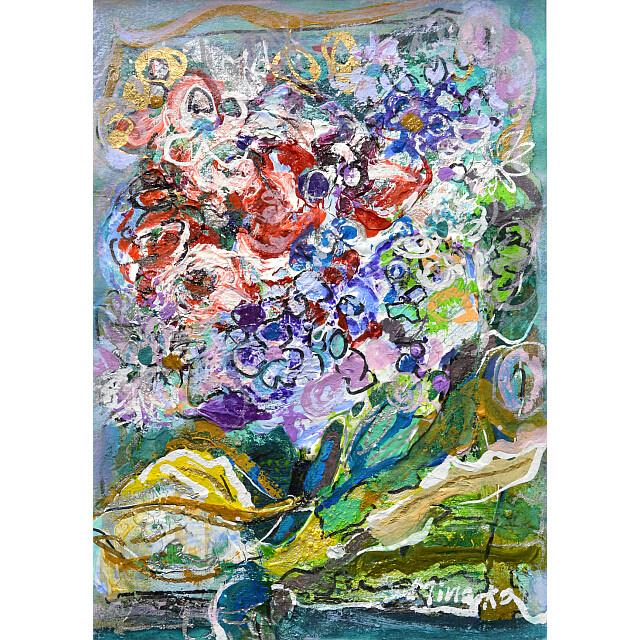 平林美奈子 絵画 窓辺の風 ミクストメディア 2号