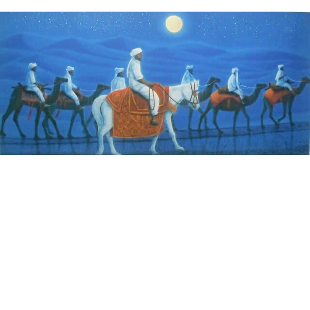 平山郁夫 アフガニスタンの砂漠を行く・月 喜寿記念リトグラフ