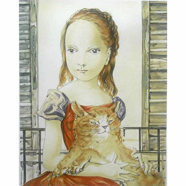 藤田嗣治 窓の前の少女と猫 リトグラフ