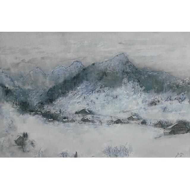 ガントナー 水彩画 アルプスの雪