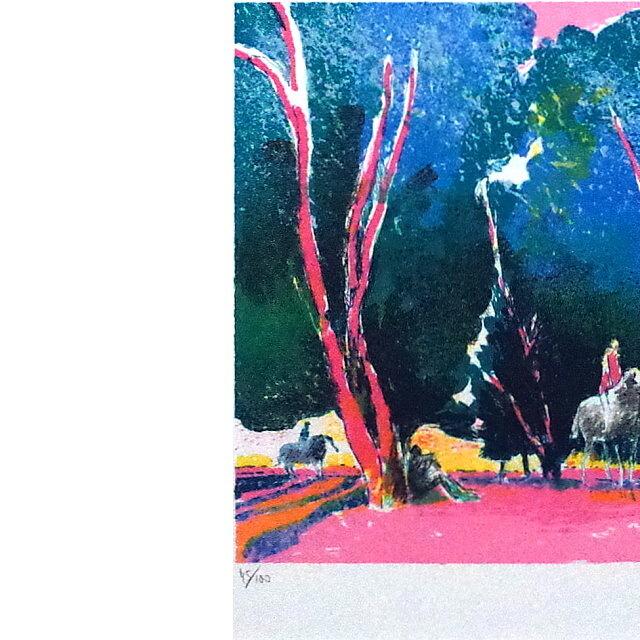 ポール・ギヤマン 絵画 朝焼けの乗馬 オリジナル・リトグラフ 部分拡大(左)