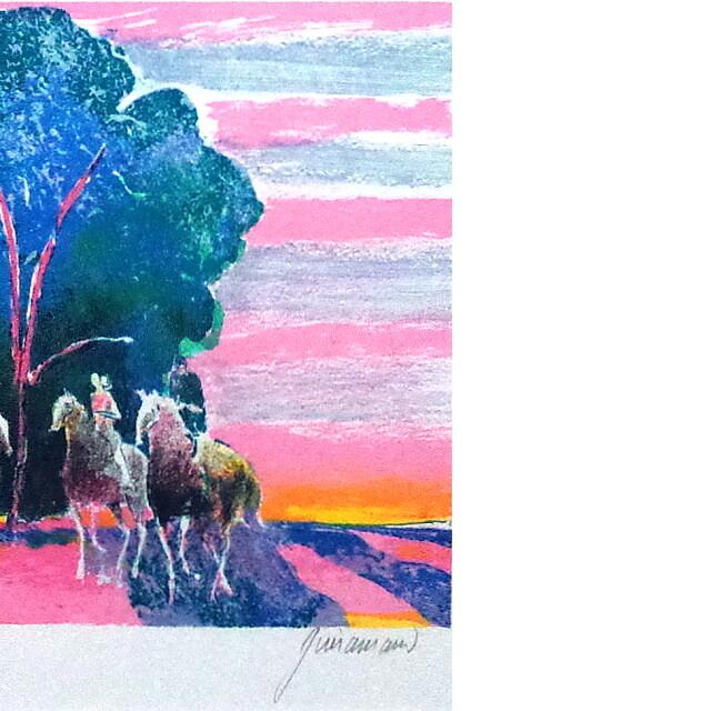 ポール・ギヤマン 絵画 朝焼けの乗馬 オリジナル・リトグラフ 部分拡大(右)