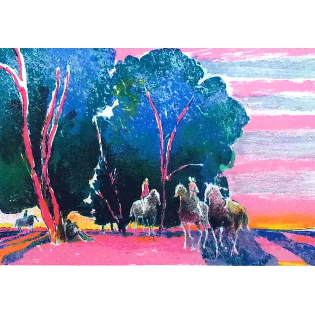 ポール・ギヤマン 絵画 朝焼けの乗馬 オリジナル・リトグラフ