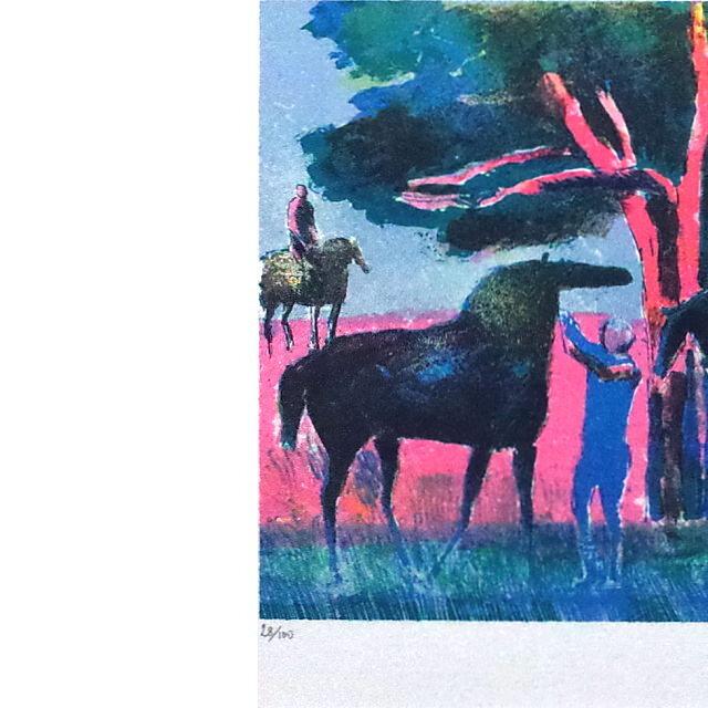ポール・ギヤマン 絵画 ブローニュの森 オリジナル・リトグラフ 部分拡大(左)