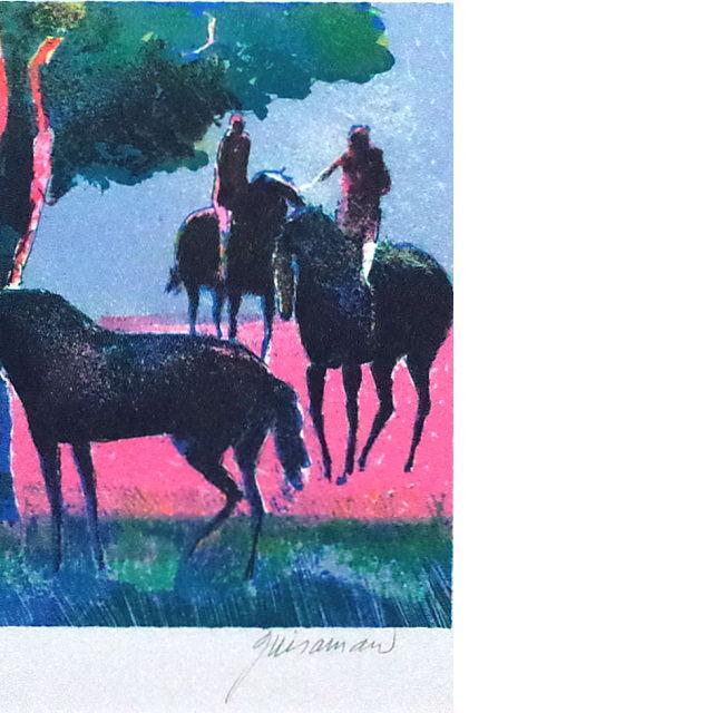 ポール・ギヤマン 絵画 ブローニュの森 オリジナル・リトグラフ 部分拡大(右)