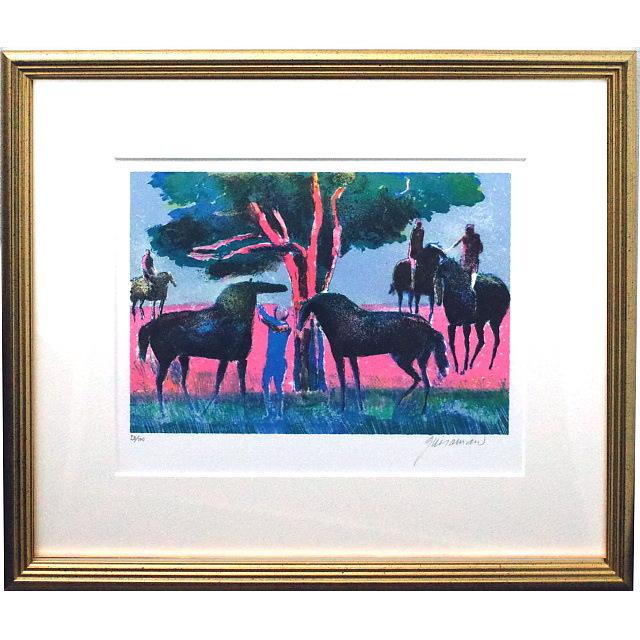 ポール・ギヤマン 絵画 ブローニュの森 オリジナル・リトグラフ 額付き