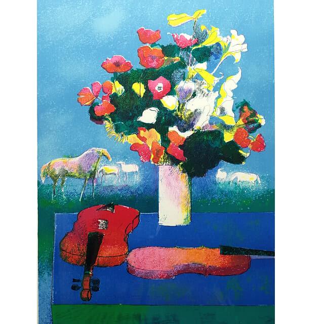 ポール・ギャマン 青いテーブルのファイオリンと花束 リトグラフ