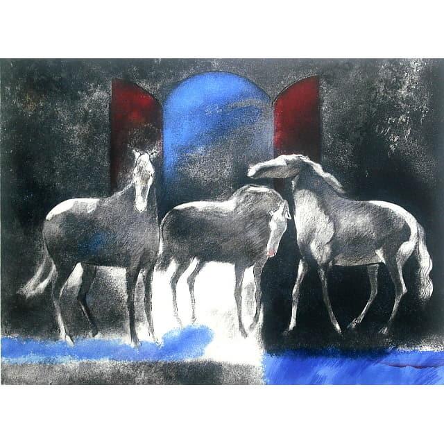 ポール・ギャマン リトグラフ 光と影 paul guiramand 馬の絵