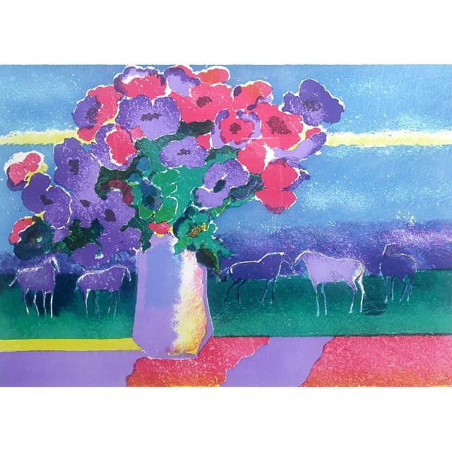 ポール・ギヤマン 作品 リトグラフ 高原の花束
