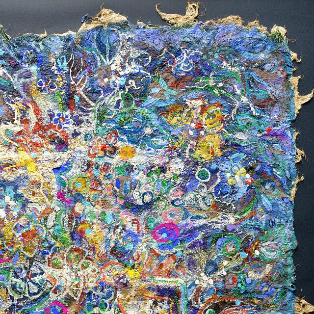 平林美奈子 絵画 和 アフレルホドニ 30号 部分拡大(右上)