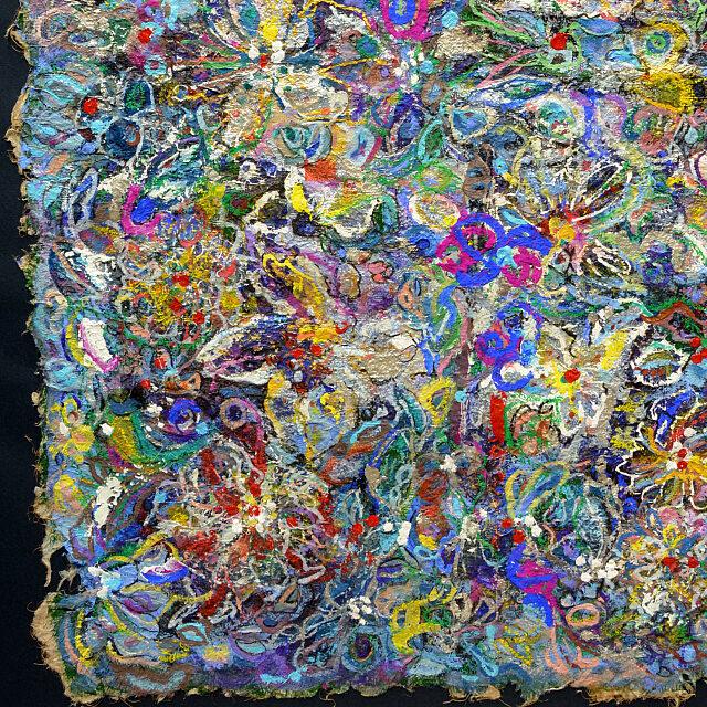 平林美奈子 絵画 和 アフレルホドニ 30号 部分拡大(左下)