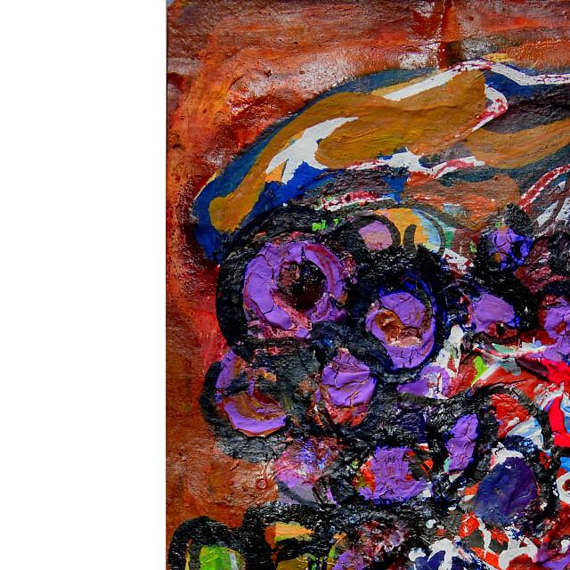 平林美奈子 絵画 豊穣 ミクストメディア 2号 部分拡大(左上)
