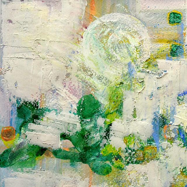 平林美奈子 絵画 情景 F6号 紙にミクストメディア 部分拡大(左上)