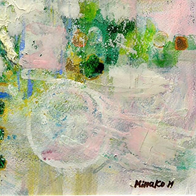 平林美奈子 絵画 情景 F6号 紙にミクストメディア 部分拡大(右下)